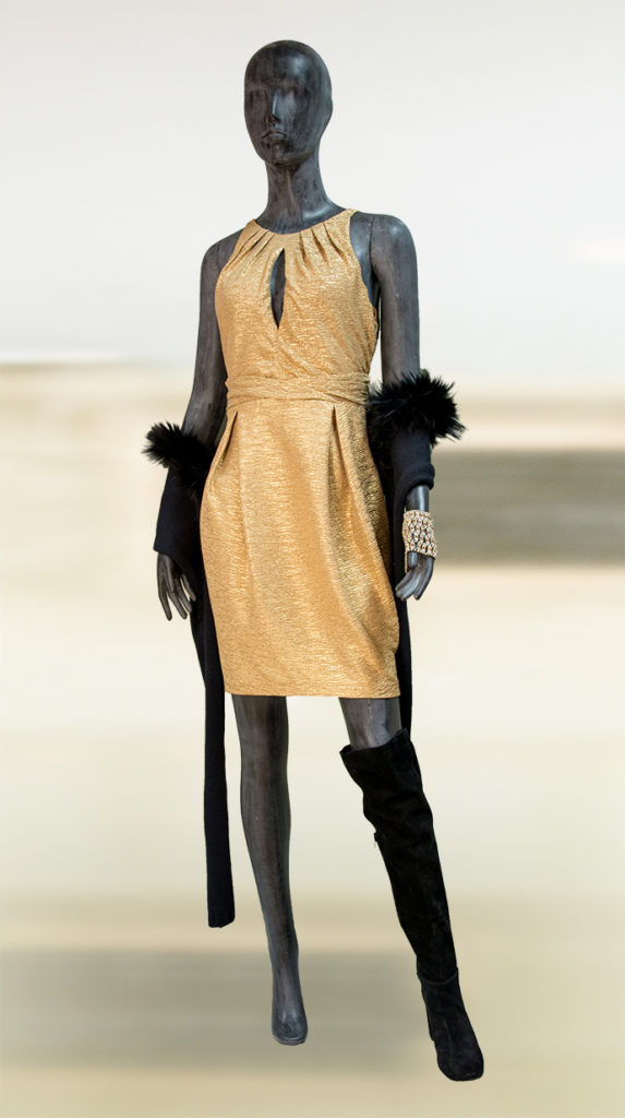 Rückenfreies Abendkleid, goldfarben